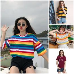 Korean Fashion Shirt T shirt Dress Oversized Tshirt Stripe Tops Off Shoulder Camo