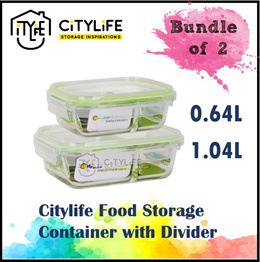 [BUNDLE OF 2] Citylife Food Storage Container with  Divider - 0.64L and 1.04L