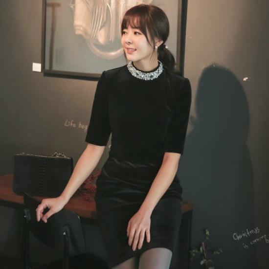オッドDRF763ビジュネク半袖ベルベットワンピース スーツワンピース/ 韓国ファッション