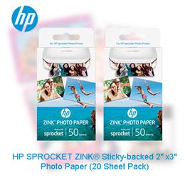 HP SPROCKET ZINK® Sticky-backed 2 x3 Photo Paper (20 Sheet Pack)