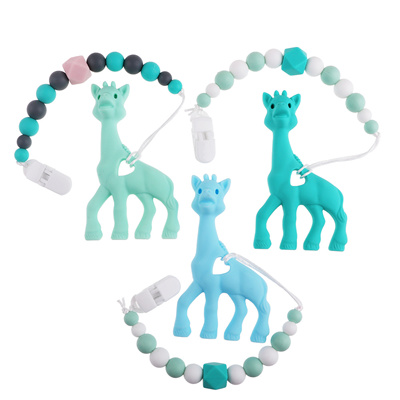 a2d40c3993c Silicone Giraffe Teether Soft Baby Teething Toy BPA Free Giraffe Pendant  Necklace for Baby Teething