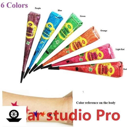 Qoo10 Herbal Henna Tube 6 Multi Color Tattoo Kit Body Art Henna Mehandi Mehn Cosmetics