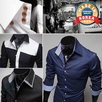 8fd5c2b9 Qoo10 - [WIZI] KOREA SLIM FIT DRESS SHIRTS 🧥 solid/check/pattern ...