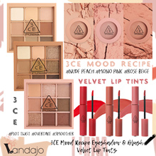3CE MOOD RECIPE - Eyeshadow Palettes #OVERTAKE Face Blush #ROSE BEIGE Velvet Lip Tints #DAFFODIL