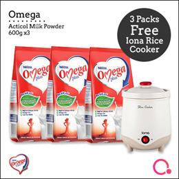 [NESTLÉ®] Omega Plus AntiCol Milk Powder (3 X 600g) + FREE IONA SLOW COOKER