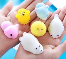 New Squishy mochi  keychain kawaii cute animal cartoon anti stress toy
