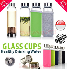 ★SG Seller★ Korean Best Selling Glass Drinking Water Bottle with / without Tea Filter ★ Best Quality ★ High Borosilicate ★ BPA free ★ Tea Maker with Infuser Filter ★ 350ml / 380ml / 500ml / 550ml ★
