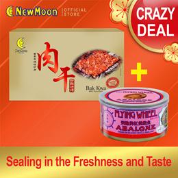 NEW MOON Slice Pork BAK KWA 200g + Flying Wheel Abalone Premium Braised 170g