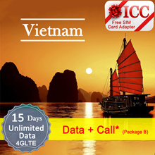 ◆ ICC◆【Vietnam Prepaid SIM Card·15/30 Days 】Unlimited data (4GLTE/3G)+ Call (PackageB only)❤ ICC