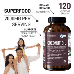 [1+1] ALL NATURAL COCONUT OIL - 2000mg ☆ MAX STRENGTH ☆ BOOST IMMUNITY ★Lowest Price★
