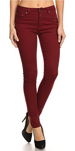 5ee460f0ee5d8 (Monotiques) Women s Jeans Semi High Rise Solid 5 Pocket 30 Inseam Full  Length