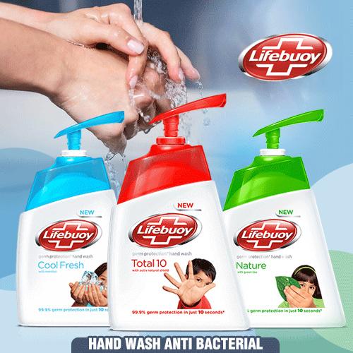 [6x215ml] Lifebuoy Mencuci Tangan Perlindungan Kuman Anti Bakteri Total 10 / Cool Fresh / Nature Deals for only Rp79.000 instead of Rp79.000