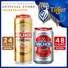 Anchor Smooth Beer 323ml x 48 Cans OR Anchor Strong 500ml x 24 Cans ($79.8 After $12 Coupon)
