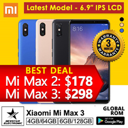 Xiaomi Mi Max 3  With Playstore Installed  SG Seller Export Set Latest Model - 64GB/ 128GB