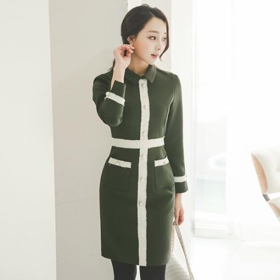 スタイルオンミグラム・ベルトSET配色ゴルジニット・ワンピースnew ニットワンピース/ワンピース/韓国ファッション