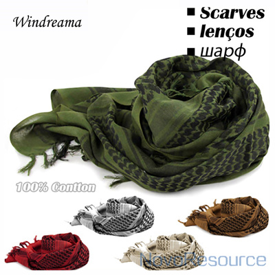 Windreama 100% Cotton Scarf Men Women Arab Muslim Military Hijab Scarves  Bandana Cachecol High Quali d7d532634