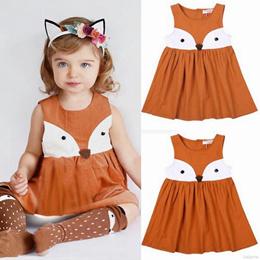 Baby Kids Brown Little Fox Cartoon Sleeveless Mini Dress