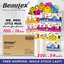 Bundle - Beautex Mr. Men Little Miss 3ply Box Tissues + 3ply Pure Pulp Toilet Rolls