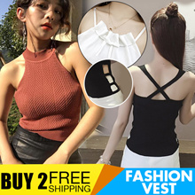 Buy 2 Free Shipping Fashion Vest Womens Top Tee Ladies Sling Sleeveless Vest 2018 New