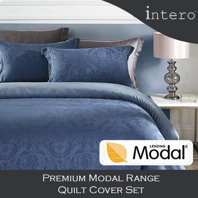 Intero Premium Range Egyptian Cotton Modal Quilt Cover with Bedsheet Pillow Case Bolster Case Set