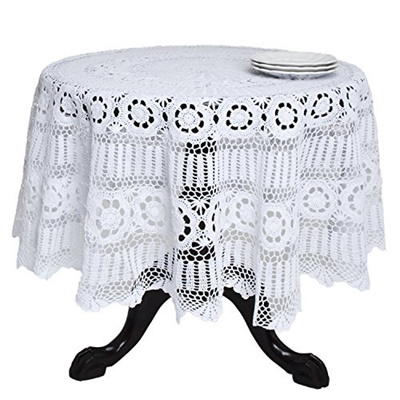 SARO LIFESTYLE 869 Crochet Tablecloths, 90 Inch, Round, White