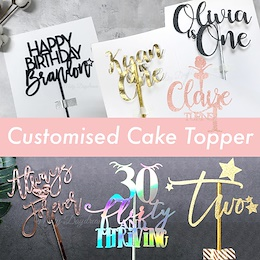  [PARTY] Customised CardStock Acrylic Wooden Cake Topper / Birthday / Baby Shower / Wedding