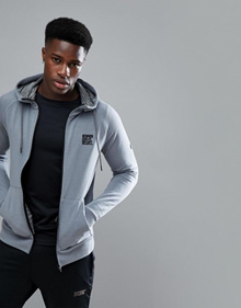 Superdry Sport Training Ziphood in Gray