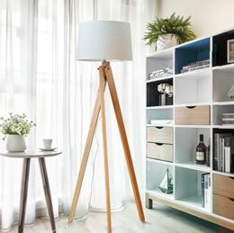 Nordic Minimalist Wooden Tripod Floor Lamp