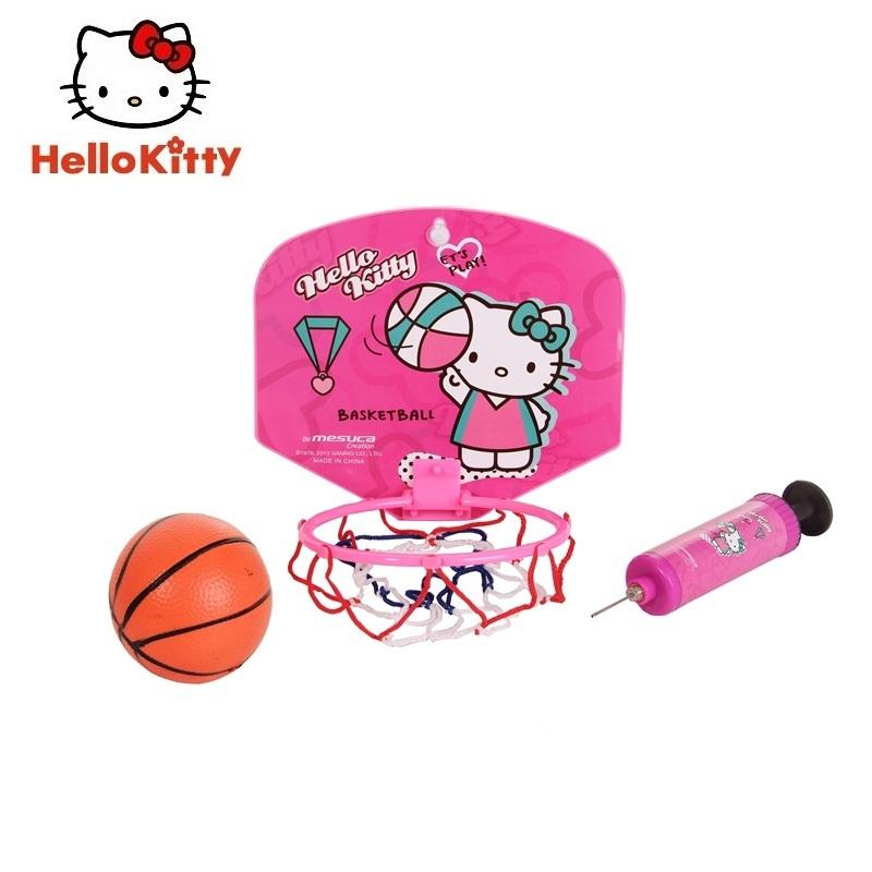 Hello Kitty 小籃板家用兒童迷你訓練籃球架藍球框室內戶外壁掛式籃筐玩具