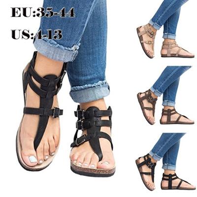 a33cbc6891e1d Summer Fashion Women Flat Sandals Shoes Female Ankle Belt Buckle Sandals  Plus Size