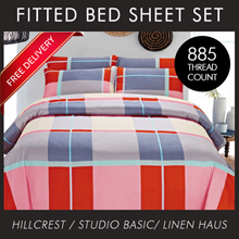 [New Year Special]  885TC Fitted Bedsheet set with pillow case bolster case 28 designs