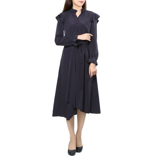 ナイスクルラプ・ドットアンバランスワンピースN173MSE014 面ワンピース/ 韓国ファッション