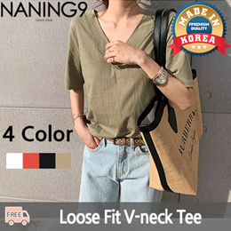 ★ 한국패션사업 NO.1 Naning9 ★무료배송 ♥ 2019 S/S 신상품!상의/Loose fit v-neck tee/Dadell V-nek tee