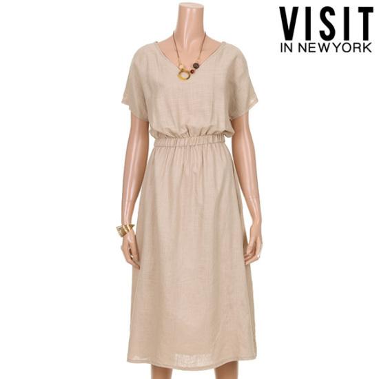・ビジット・インニューヨークイブニングVネクリンネンワンピースVTGOP18 面ワンピース/ 韓国ファッション