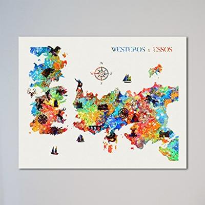 Karte Westeros Essos Deutsch.Usa Game Of Thrones Locations Map Westeros Essos Houses 11 X 14 Inches Print Ship From Usa