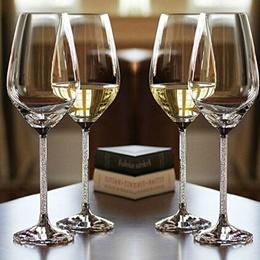 Crystal wine glass set of 2 continental birthday wedding gift Swarovski diamond wine goblets-mail