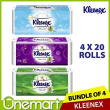 [KLEENEX]★ JUMBO ROLL ★ Ultra Soft Bathroom Tissues 20 Rollsx4 (Regular/Aloe Vera)