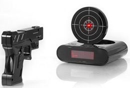Amazing Laser Target Desk Shooting Gun Alarm Clock Cool Tech Gadget Toy Novelty with Red LED Backlig