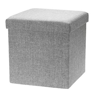 Double SavingPlus Large Folding Ottoman POUFFE SEAT Foot Stool Storage Box Grey