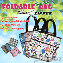 INSTOCK !!! ♻ FOLDABLE BAG WITH ZIPPER ♻ MEDIUM SIZE / ECO / TOTE【SG SELLER】