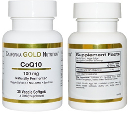 California Gold Nutrition Co Q10 Naturally Fermented 100 mg 30 / 120 Veggie Softgels.