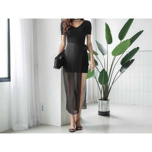 ネルリスンシフォンミックススリムフィットワンピースnew ミニワンピース/ワンピース/韓国ファッション