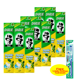 [[Bundle Deal+Free 1 x Toothbrush]] Darlie Double Action Toothpaste 6 x 250G + 3 x 100G!
