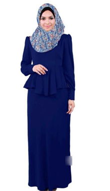 2 Pieces Joint Peplum Jubah Dress (Including Shawl) - BOWJ-557
