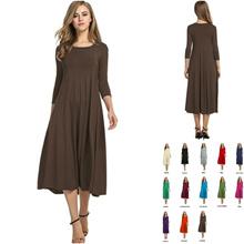 13 Colors (🇲🇾Ready Stock) Womens 3/4 Sleeve A-line Blouse Midi Dress Dresses