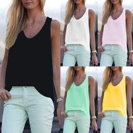 d40ec29abc97 New Arrival Plus Size Women Fashion Vest Shirts Solid Sleeveless O-Neck  Casual Chiffon Blouse