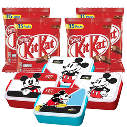 Nestle KITKAT 2F Sharebag 15 s  Bundle of 4  Free 1 Mickey Container x 4