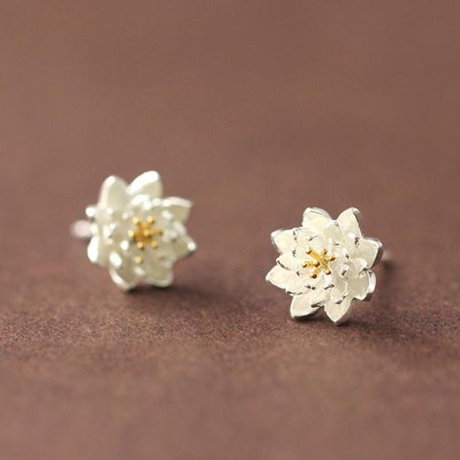 Stud Earrings Women Fresh Small Silver Plated sunflower Warm Lotus Fine Jewelry
