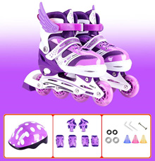 Professional Inline Skate Shoes 4 Wheels☆Adjustable Skating Roller Skates+Helmet Knee Protector Gear