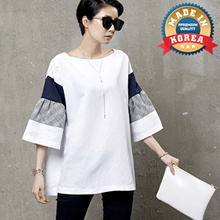 [HALUMAYBE][FREE SHIPPING]M481 Square Neck Linen Blouse